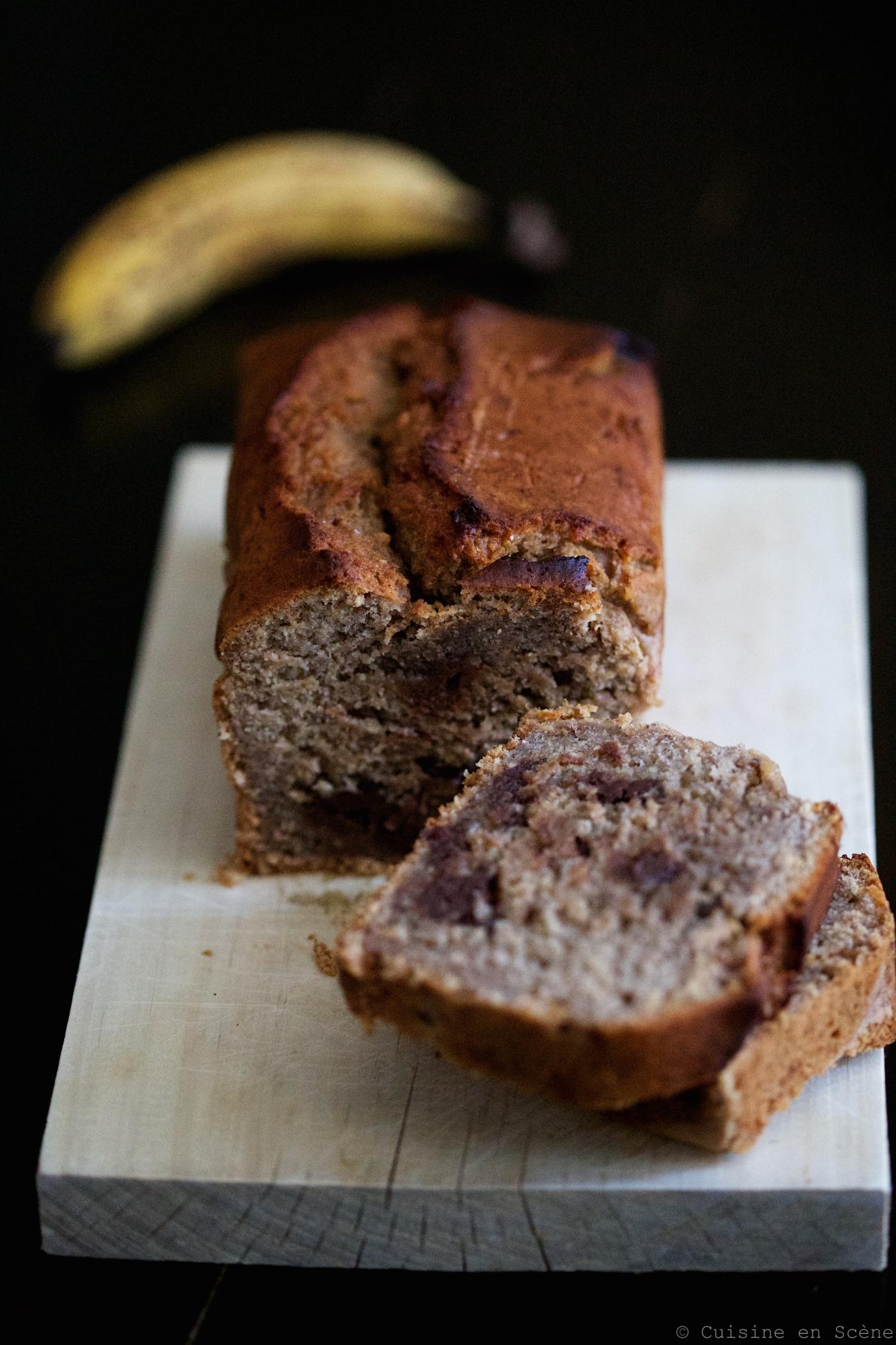 Cake santé à la banane et au chocolat