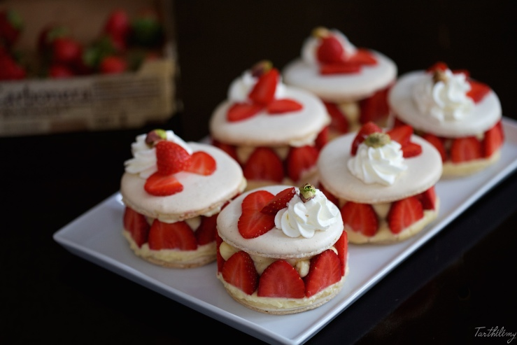 Macarons façon fraisier